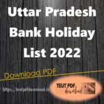 Uttar Pradesh Bank Holiday List 2022 PDF Download