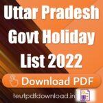 Uttar Pradesh Govt Holiday List 2022 PDF Download