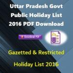 Uttar Pradesh Govt Public Holiday List 2016 PDF Download