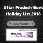 Uttar Pradesh Govt Public Holiday List 2018 PDF Download