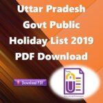 Uttar Pradesh Govt Public Holiday List 2019 PDF Download